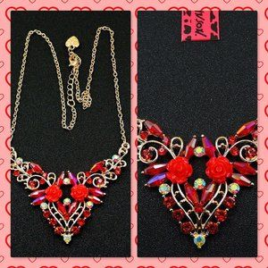 Betsey Johnson Red Crystal Flower Pendant Necklace